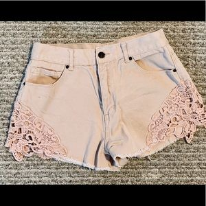 "Forever 21 pink denim shorts w lace accent, 26""."